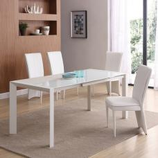 Farum Glass Extendable Dining Table In Matt White 4 Ergo Chairs