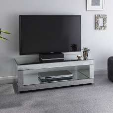 Fausto Mirrored Rectangular TV Stand With Undershelf