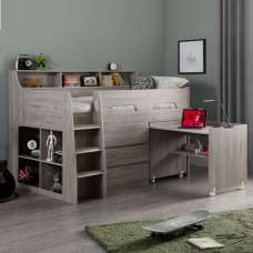 Fenton Midsleeper Children Bed In Grey Oak With Storage And Desk