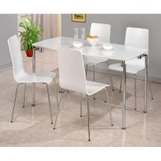Fiji High Gloss Rectangle Dining Set in White