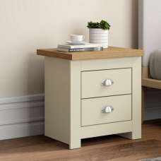 Fiona Wooden Bedside Cabinet In Cream And Oak With 2 Drawers