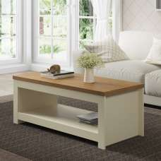 Fiona Wooden Coffee Table Rectangular In Cream And Oak