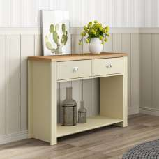 Fiona Console Table Rectangular In Cream And Oak With 2 Drawers