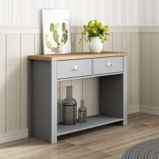 Fiona Console Table Rectangular In Grey And Oak With 2 Drawers