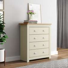 Fiona Wooden Chest Of Drawers In Cream And Oak With 4 Drawers
