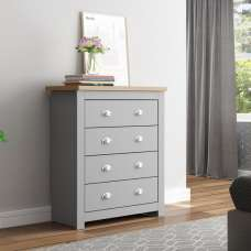 Fiona Wooden Chest Of Drawers In Grey And Oak With 4 Drawers