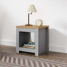 Fiona Wooden Lamp Table Square In Grey And Oak