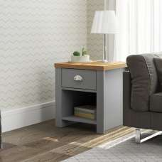 Fiona Wooden Lamp Table Square In Grey And Oak With 1 Drawer