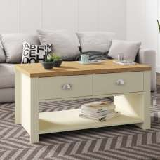 Fiona Coffee Table Rectangular In Cream And Oak With 2 Drawers