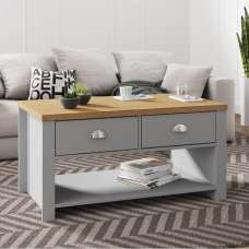 Fiona Coffee Table Rectangular In Grey And Oak With 2 Drawers