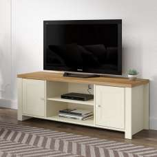 Fiona Wooden TV Stand In Cream And Oak With 2 Doors