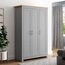 Fiona Wooden Wardrobe Wide In Grey And Oak With 3 Doors