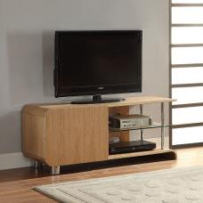 Flavius TV Stand In Ash Wood With 1 Door And Glass Shelf