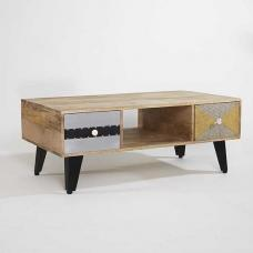 Flocons Wooden Coffee Table In Reclaimed Wood With 2 Drawers