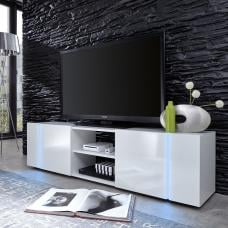Florus LCD TV Stand In White With Gloss Fronts And LED