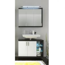 Forum Bathroom Set 3 In Smoke Silver Gloss White Fronts And LED