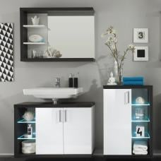 Forum Bathroom Set 4 In Smoke Silver Gloss White Fronts And LED