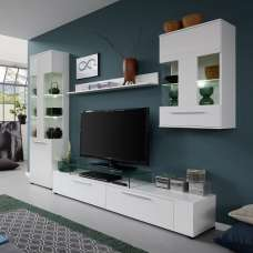Frantin Living Room Set In White With Gloss Fronts And LED