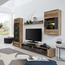 Frantin Living Room Set 1 In Walnut With LED Lighting