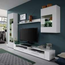 Frantin Living Room Set 1 In White With Gloss Fronts And LED