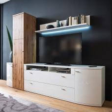 Franzea Living Room Set In White Gloss Fronts And Oak With LED