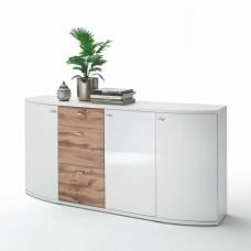 Franzea Wooden Sideboard In White Gloss Fronts And Oak