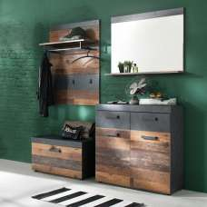 Saige Hallway Furniture Set 3 In Old Wood And Graphite Grey