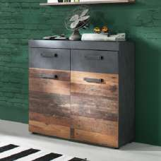 Saige Wooden Shoe Storage Cabinet In Old Wood And Graphite Grey
