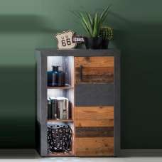 Saige Storage Cabinet In Old Wood And Graphite Grey With LED