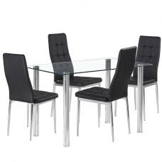 Fuse Glass Dining Table In Clear With 4 Cosmo Black Chairs