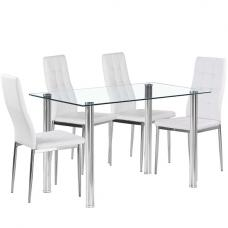 Fuse Glass Dining Table In Clear With 4 Cosmo White Chairs