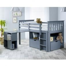 Gabriella Mid Sleeper Bed In Grey With Storage And Desk