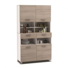 Gallen Modern Storage Cabinet In Acacia And White With 4 Doors