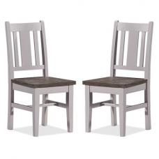 Galleon Wooden Dining Chair In Cotton White In A Pair