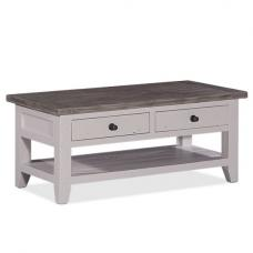 Galleon Wooden Coffee Table In Cotton White With Storage