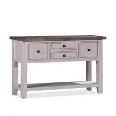Galleon Wooden Console Table In Cotton White With Storage