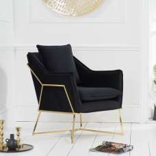 Gamma Velvet Accent Lounge Chair In Black With Brass Frame