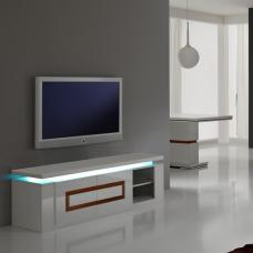 Garde Tv Stand In White Gloss And Walnut With Lights