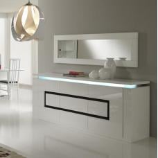 Garde Sideboard In High Gloss White And Black With Led Light