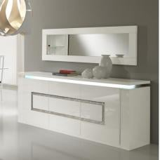 Garde Sideboard In White Gloss With Lights And Diamante
