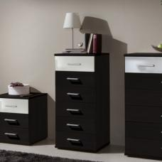 Gastineau 6 Drawers Tall Chest In Wenge And White