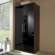 Gastineau Wardrobe In Columbia Walnut And Black With 2 Doors