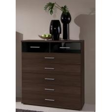 Gastineau Chest Of Drawers Wide In Columbia Walnut And Black