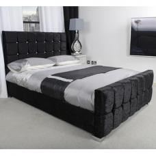 Gemma Fabric Single Bed In Black Crushed Velvet With Chrome Feet