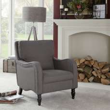 Gemona Fabric Lounge Chair In Grey With Wooden Legs