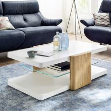 Genesis Wooden Coffee Table In White And Oak With Glass Shelf