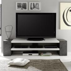 Geneva Rectangular TV Stand In Matt White And Concrete