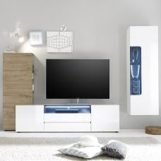 Genie Living Room Set 2 In White Gloss And Oak With LED