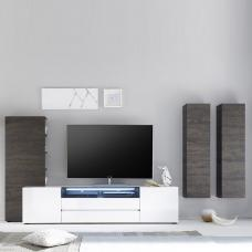 Genie Living Room Set 4 In White High Gloss And Wenge With LED