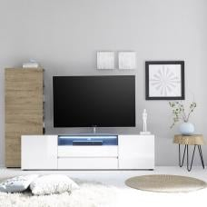 Genie Living Room Set 1 in White High Gloss And Oak With LED